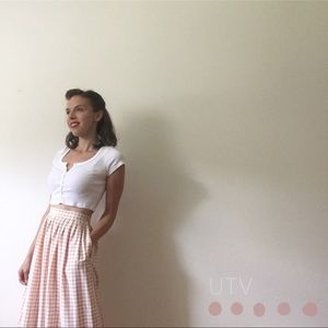 1990s White And Beige Houndstooth Skirt